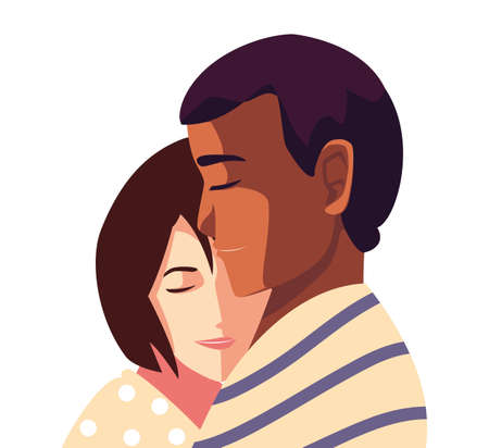 couple of people in love, man and woman embracing each other affectionately vector illustration design Ilustracja