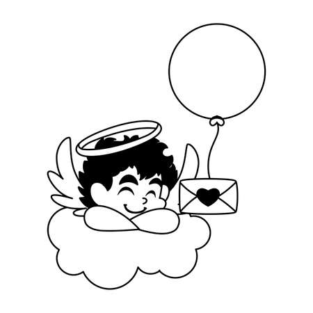 cute cupid angel with a love letter in white background vector illustration design Vectores