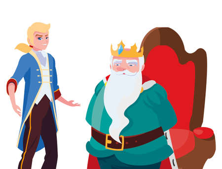 prince charming with king on throne characters vector illustration design
