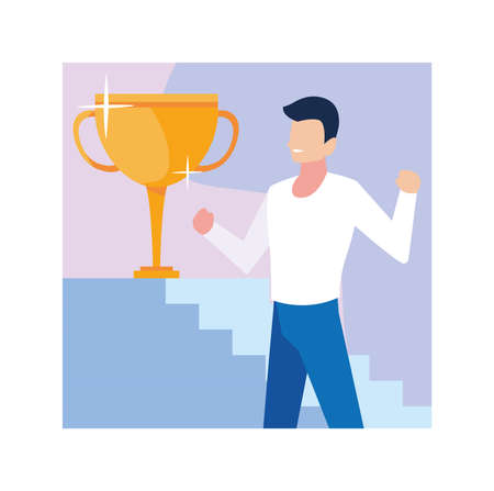young man with gold trophy vector illustration design 일러스트