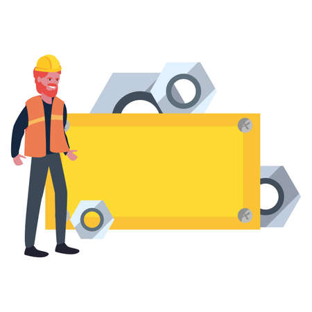 builder nuts board tool labour day vector illustration