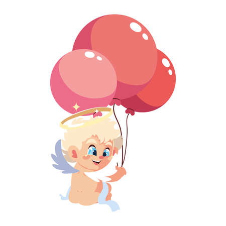 cute cupid angel with helium balloons on white background vector illustration design