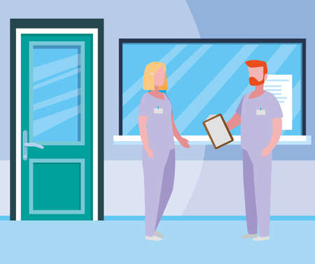 couple medicine workers in hospital reception vector illustration design Иллюстрация
