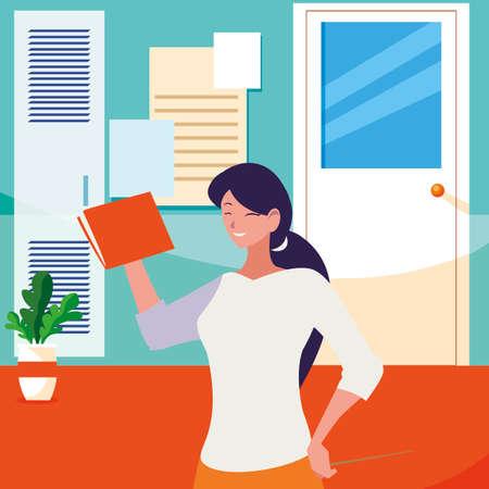 female teacher with textbook in corridor school vector illustration design