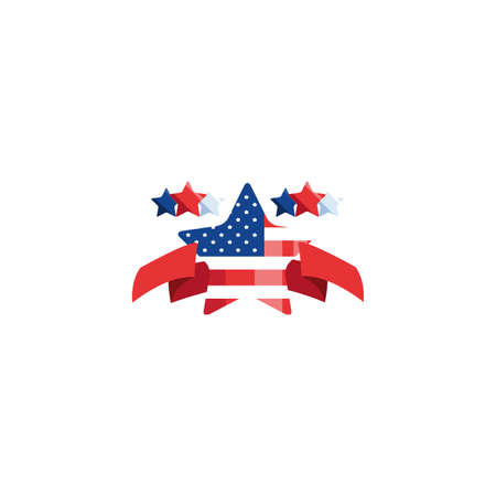 Usa flag star design, United states america independence day nation us country and national theme Vector illustration