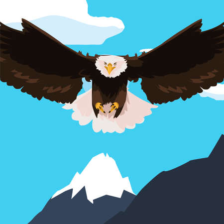 beautiful bald eagle flying in the snowscape vector illustration design Vectores