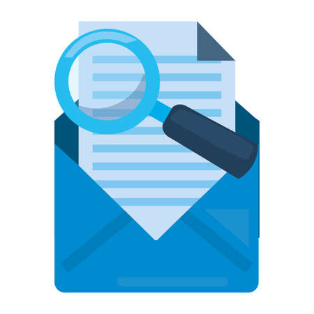 email analysis magnifier cybersecurity data protection vector illustration