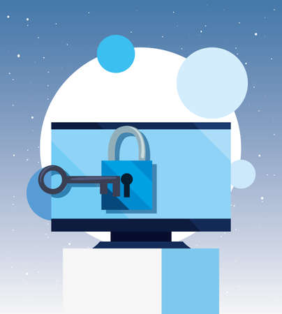computer padlock key security cybersecurity data protection vector illustration  イラスト・ベクター素材