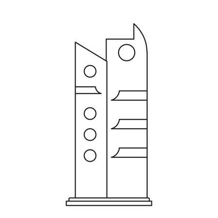 futuristic building modern on white background vector illustration outline