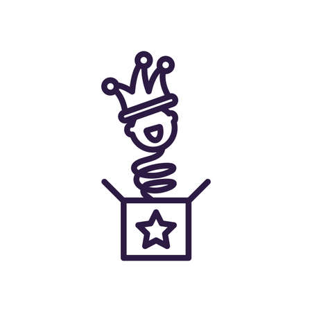 jokebox with clown over white background, line style icon, vector illustration Banco de Imagens