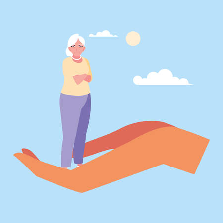 let's take care of the old woman vector illustration design Ilustração