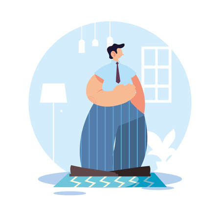 Man at home in quarantine vector illustration design Illustration