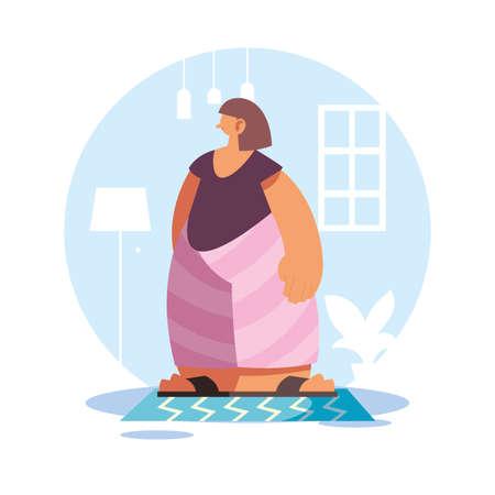woman at home in quarantine vector illustration design