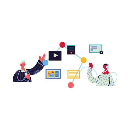 men working and learning online vector illustration design Illustration