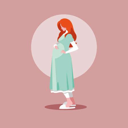 pregnant woman avatar character vector illustration design