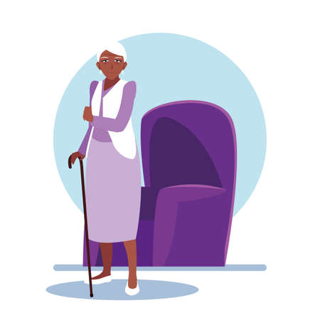 elderly woman takes care of herself at home vector illustration design