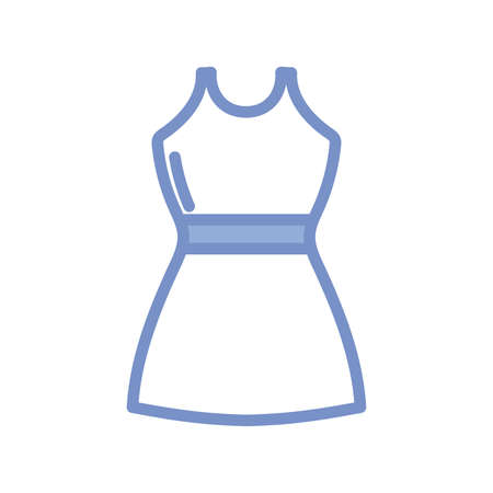 women dress icon over white background, blue outline style, vector illustration