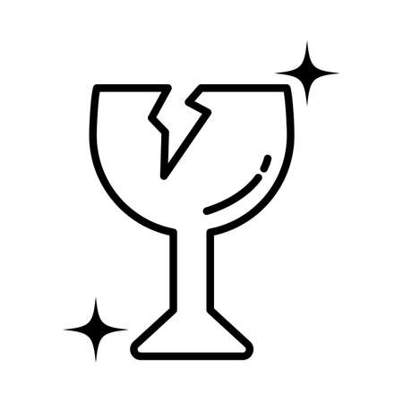 warning sign, broken cup glass , line style icon vector illustration design