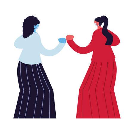 women compromised against increased coronavirus vector illustration design