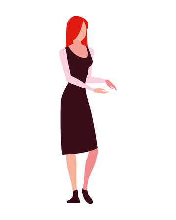 young woman standing on white background vector illustration design