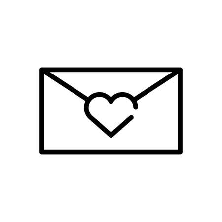 envelope with heart icon over white background, line style icon, vector illustration