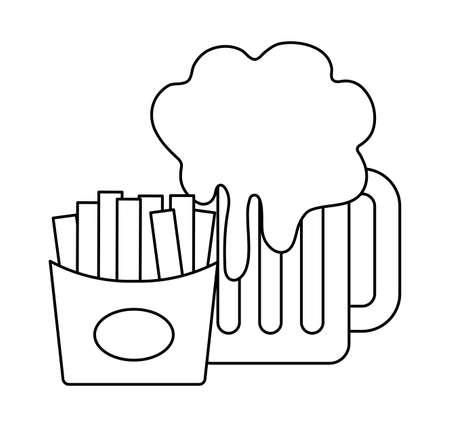 french fries with beer in jar vector illustration design Illusztráció