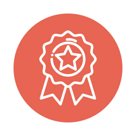 badge with star block and flat style icon vector illustration design Иллюстрация