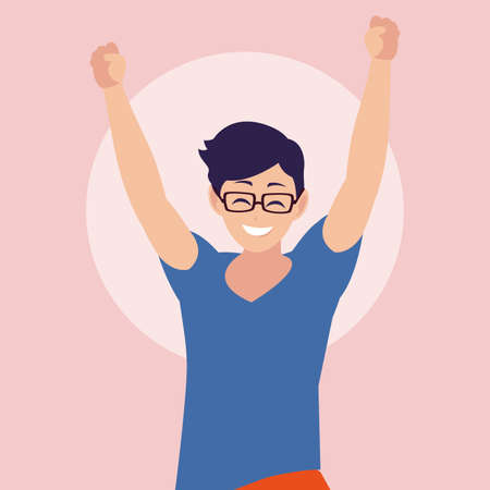 young man happy celebrating with hands up vector illustration design