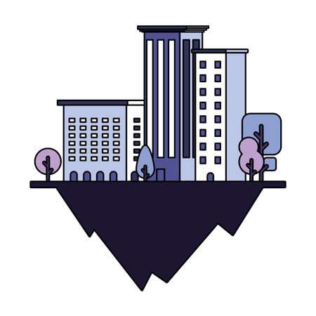 apartment and office buildings urban landscape over terrain vector illustration design