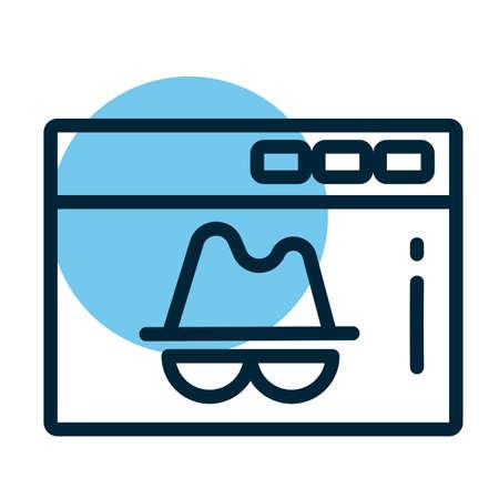 window with incognito, line style icon vector illustration design