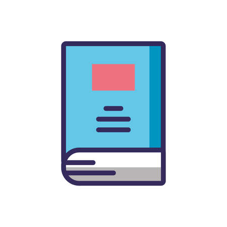 book icon over white background, colorful line and fill style, vector illustration