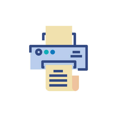 Printer with document design, Data archive storage organize business office and information theme Vector illustration Ilustração