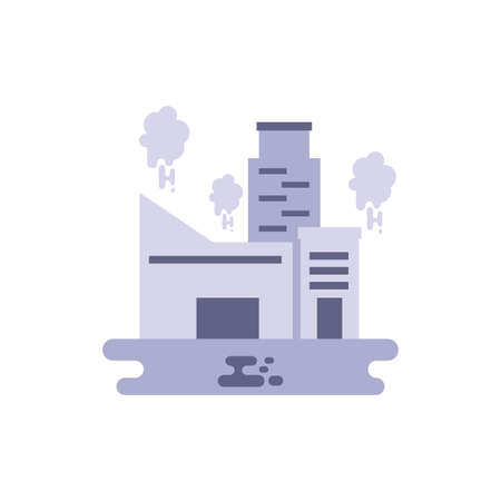 factory with smoke design, Industry plant building industrial construction job work technology and manufacturing theme Vector illustration