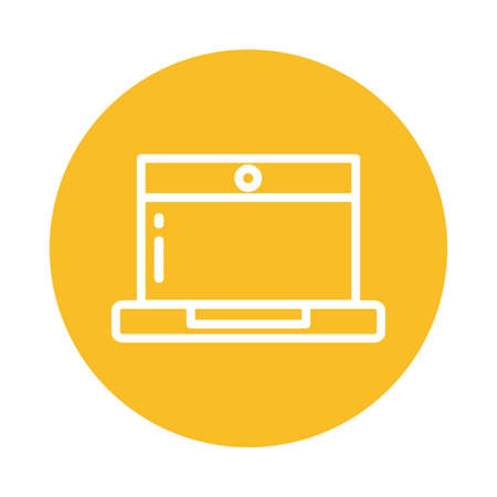 nice laptop, block and flat style icon vector illustration design