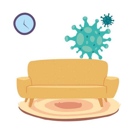 furniture cleaning by coronavirus vector illustration design