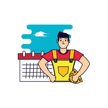 worker construction man with calendar reminder vector illustration design Illustration