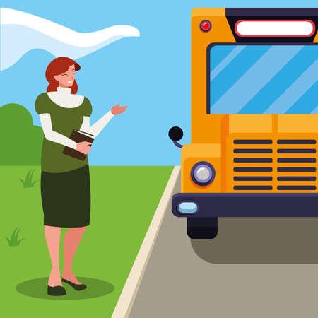female teacher in bus stop vector illustration design Illustration