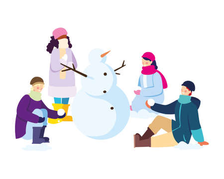 group of people with snowman on white background vector illustration design