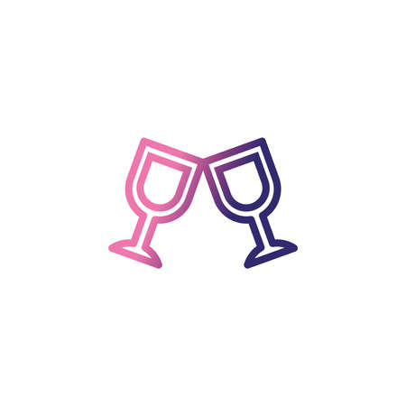 wine glasses, gradient style icon vector illustration design 向量圖像