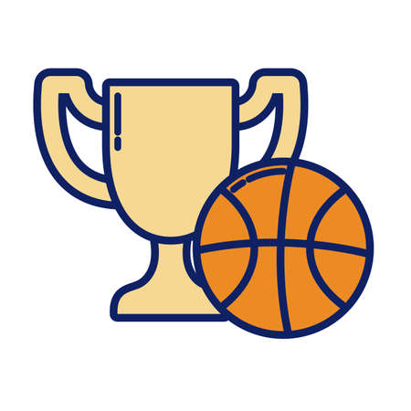 trophy prize with basketball ball, line and fill style icon vector illustration design