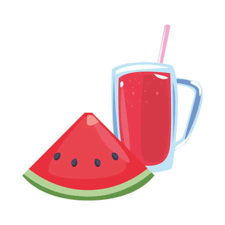 summer time holiday watermelon glass cup juice with straw vector illustration