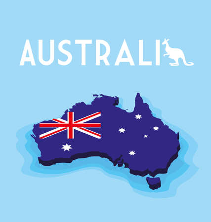 australia map with flag, label austratia vector illustration design Illusztráció