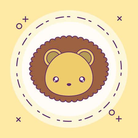 head of cute little lion baby in frame circular vector illustration design Ilustracja