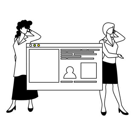 businesswomen in the work office making presentation vector illustration design