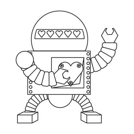 cartoon robot icon over white background black and white design vector illustration  イラスト・ベクター素材