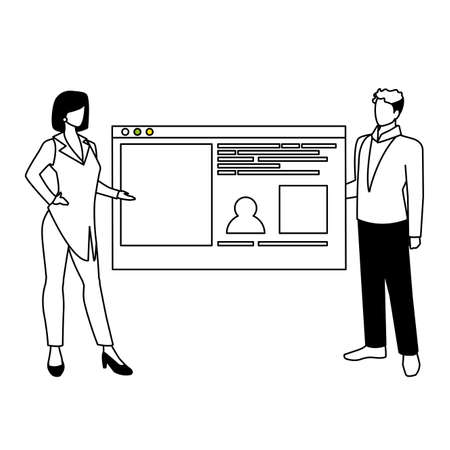 couple of people business in the work office making presentation vector illustration design