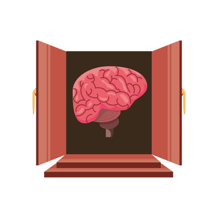 brain in open door on white background vector illustration design 일러스트