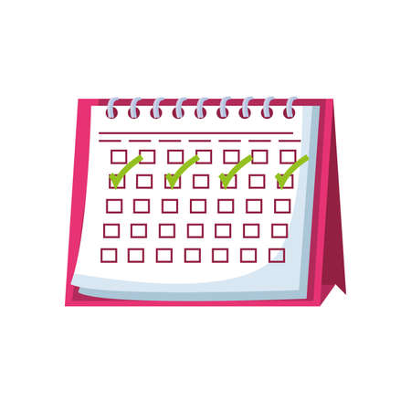 calendar with check boxes on white background vector illustration design