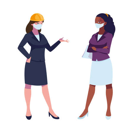 industrial women workers with face masks vector illustration design