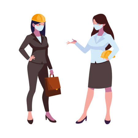 industrial women workers with face masks vector illustration design Vetores